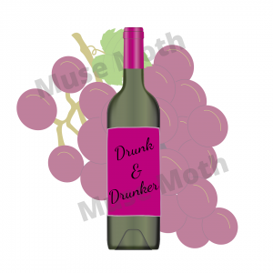 Wine bottle with drunk or drunker grapes with leaves background Instagram Post