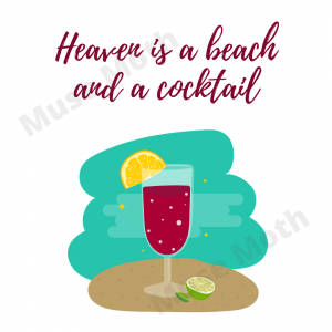 Heaven is a beach and a cocktail with watermark Instagram post