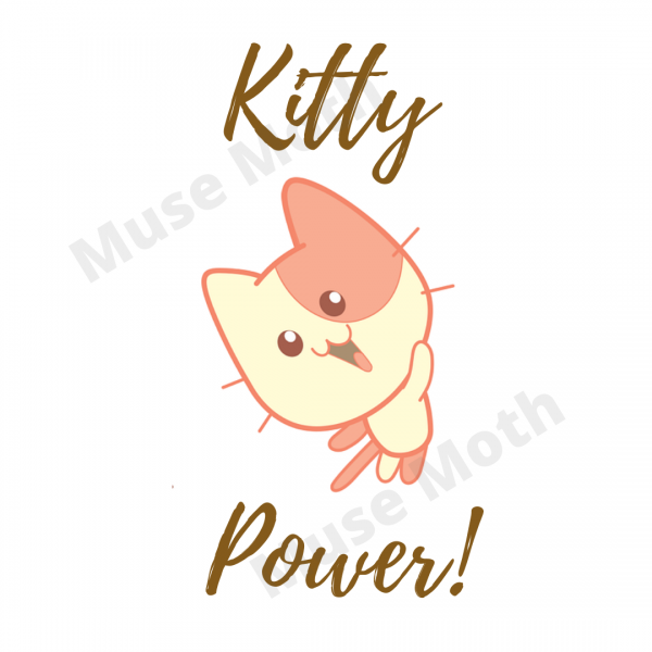Kitty Power! Brown Text