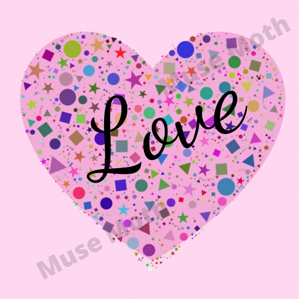 The Word Love With a Pink Heart Background Instagram Post