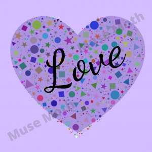The Word Love With a Purple Heart Background Instagram Post with watermark