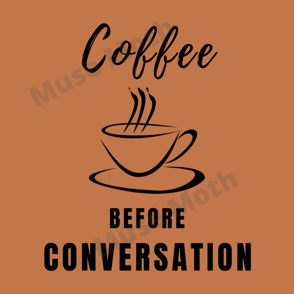 Coffee Before Conversation brown Instagram post with watermark