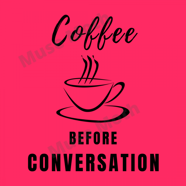 Coffee Before Conversation red Instagram post with watermark