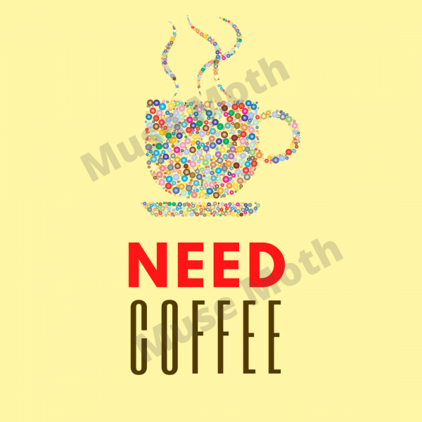 Need Coffee Yellow Instagram post with watermark