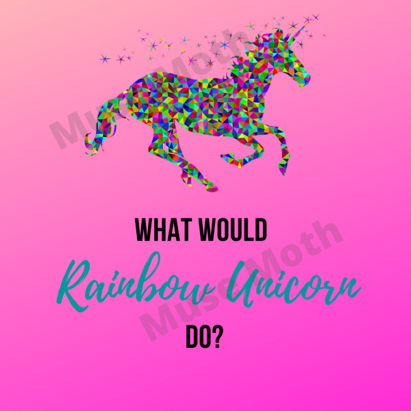 What would rainbow unicorn do? Instagram post pink background with watermark
