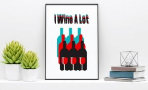 wine graphic on white canvas picture