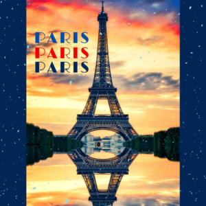 Eiffel Tower with the words Paris three times